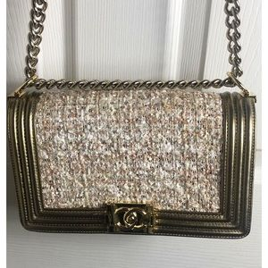 Chanel Gold Tweed Medium Boy Bag